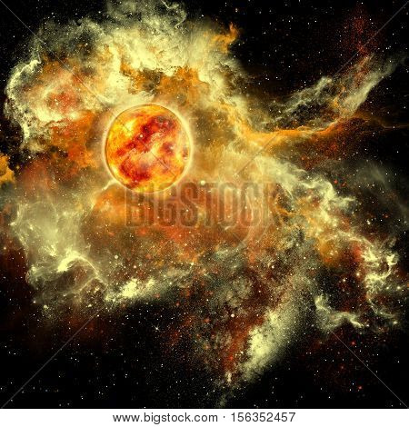 Sun Evolution 3D Illustration - A sun gathers surrounding matter and plasma to become a larger and larger sphere in the universe.