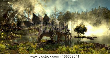 Stegosaurus in Swamp 3D Illustration - Stegosaurus dinosaurs come down to a marsh for a drink of water in the Jurassic Period of North America.