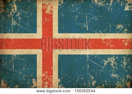 Icelandic Flag Flat Aged