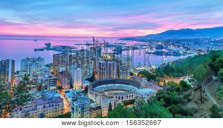Sunset in Malaga - aerial view Costa del Sol Andalusia Spain