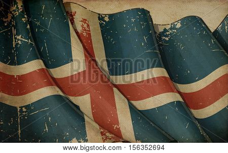 Icelandic Flag Old Newspaper