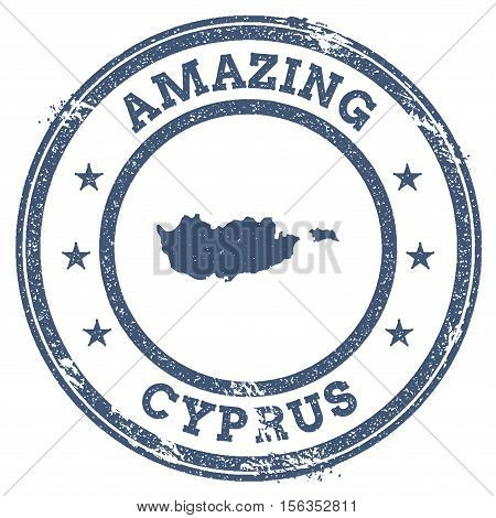 Vintage Amazing Cyprus Travel Stamp With Map Outline. Cyprus Travel Grunge Round Sticker.