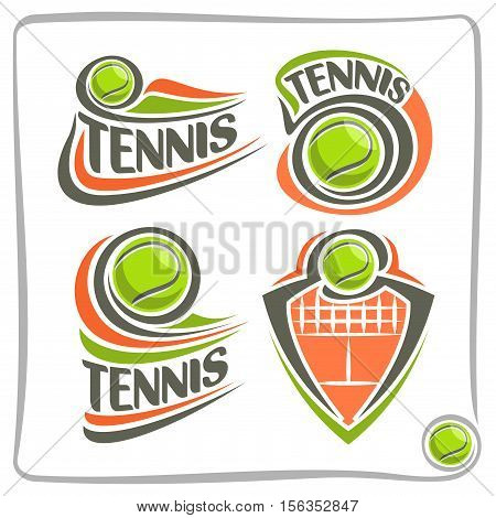 Vector abstract logo lawn Tennis Ball, decoration sign sports club, simple green ball flying on ground court with net, set isolated sporting equipment icon, flat design concept school blazon.