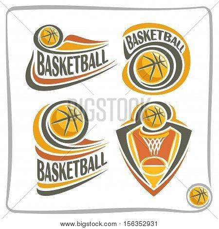 Vector abstract logo Basketball Ball, decoration sign sports club, simple line contour orange ball flying in basket with net, isolated sporting cup equipment icon, flat design school blazon