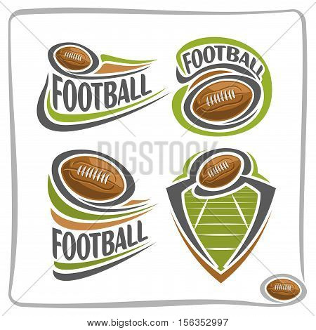 Vector abstract logo american Football Ball, decoration sign sports club, simple line brown ball pigskin flying above green field in goal, isolated sporting icon, flat design school blazon.
