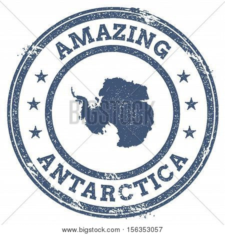Vintage Amazing Antarctica Travel Stamp With Map Outline. Antarctica Travel Grunge Round Sticker.