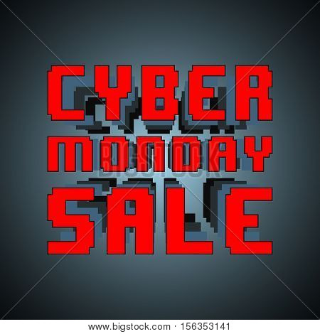 Cyber monday sale inscription template. Design for sale, discount, cover, banner, brochure or flyer. Vector illustration