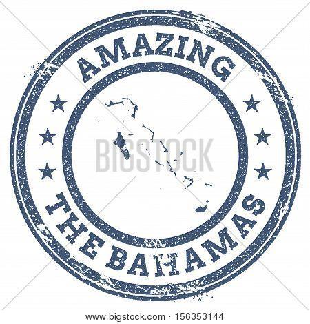 Vintage Amazing Bahamas Travel Stamp With Map Outline. Bahamas Travel Grunge Round Sticker.