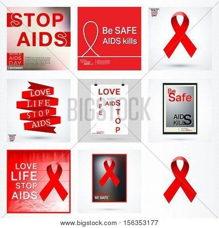 World AIDS Day. Red ribbons. HIV - STI. Set of Acquired Immune Deficiency Syndrome poster, badge, logo, icon. Vector illustration.