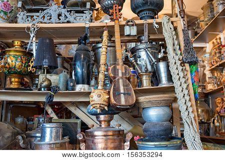 Samovars, tar and pans at Baku flea market