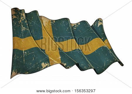 Swedish Aged Scratched Flag