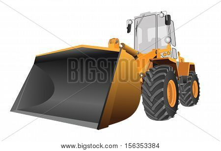 Detailed vector image of the front loader with large scoop