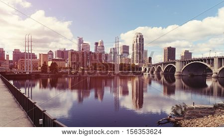 Downtown of Minneapolis city. Minnesota. United States