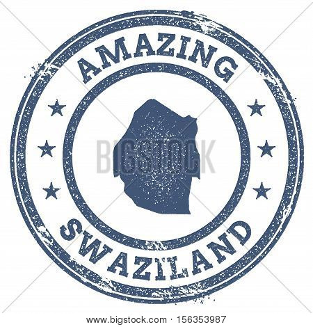 Vintage Amazing Swaziland Travel Stamp With Map Outline. Swaziland Travel Grunge Round Sticker.