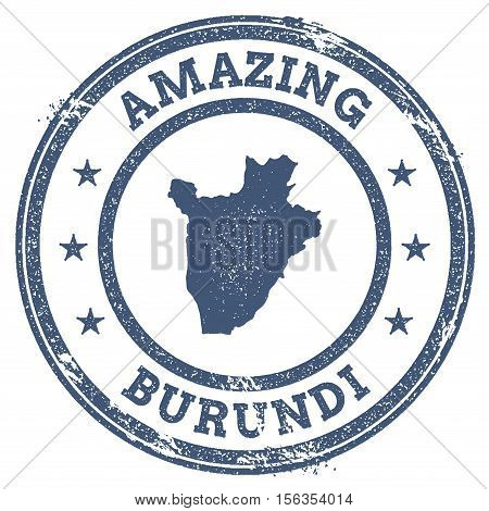 Vintage Amazing Burundi Travel Stamp With Map Outline. Burundi Travel Grunge Round Sticker.