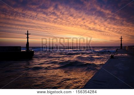 Enter To Harbour On Sunset In Baltic Sea
