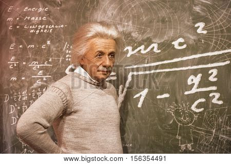 London, the UK-May 2016: Albert Einstein wax figure in Madame Tussaud's  museum