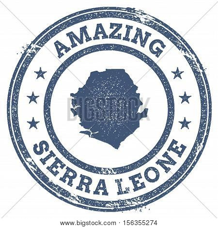 Vintage Amazing Sierra Leone Travel Stamp With Map Outline. Sierra Leone Travel Grunge Round Sticker