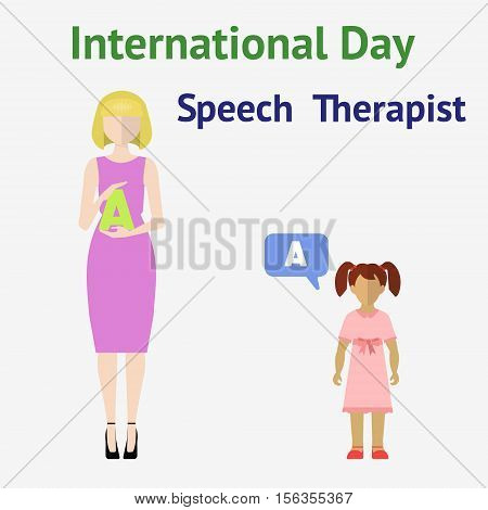 International speech therapist day. Flat vector illustration