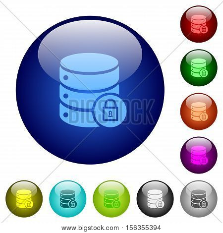 Database lock icons on round color glass buttons