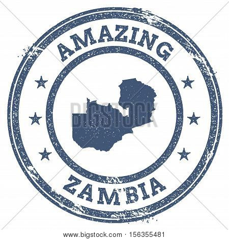 Vintage Amazing Zambia Travel Stamp With Map Outline. Zambia Travel Grunge Round Sticker.
