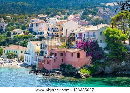 Scenic View Of Beautiful Fisherman Village Asos In Kefalonia