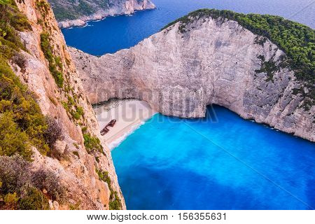 Landscape Aerial View Of Famous Shipwreck Beach In Zakynthos