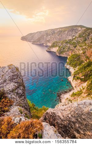 Ocean coastline landscape view at sunset Zakynthos island near Kampi Greece