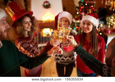 Close up of glasses of Champagne, toasting