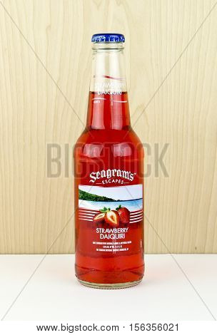 Spencer Wisconsin - November 13 2016 Bottle of Seagram's Escapes Strawberry Daiquiri Seagram's was founded in Canada in 1857