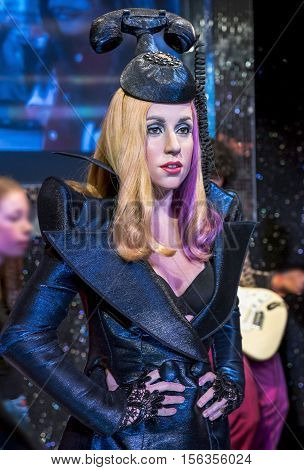London, the UK - May 2016:  Lady Gaga wax figure in Madame Tussaud museum