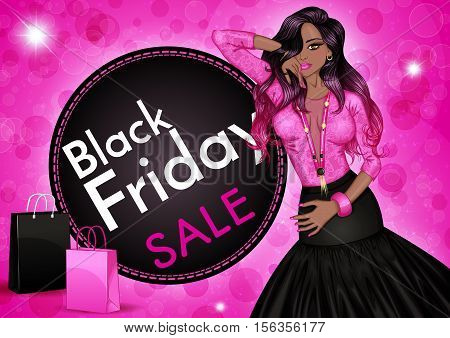 Glamour vector illustration of a fashion african american woman and shopping bags on a pink background. Black friday sale banner template. Design for Christmas sale, shopping, retail, discount poster