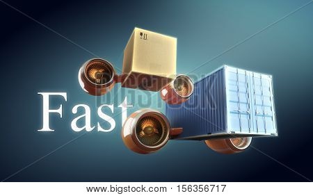 Fast box, crate trucking and container delivery with goods transportation. 3d illustration