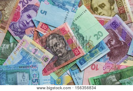 Ukrainian money hryvnia background close up top view