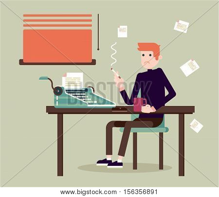 Writer sits by the table and writing a new story. Retro vintage style. Indoor illustration. Vector flat design. Flat character.