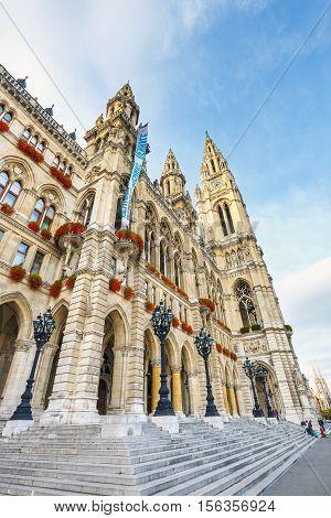 Vienna, Austria, October 14, 2016: Courtyard Of City Hall In Vienna Also Know As Rathaus, Austria