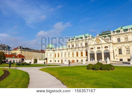 Vienna, Austria - October 15, 2016: Belvedere Palace And Garden In Vienna. The Main Palace  - Upper