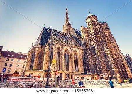 Vienna, Austria, October 15, 2016:  Stephansdom (st. Stephen Cathedral) On Stephansplatz In Vienna,