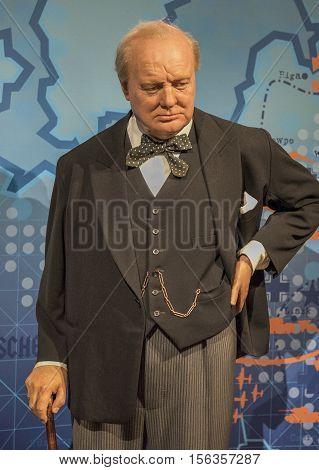 London, the UK - May 2016:  Winston Churchill wax figure in Madame Tussaud museum