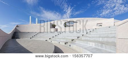 Lisbon, Portugal - October 31, 2016:  Amphitheater of the Champalimaud Foundation - Centre for the Unknown. Biomedical private research center - neuroscience, oncology and visual impairment fields
