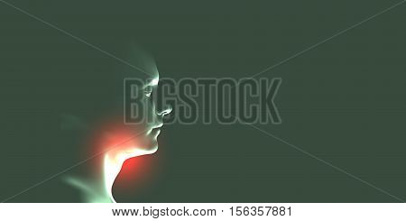 Health care concept design. Sore throat. Human throat irritation. Laryngitis vector illustration