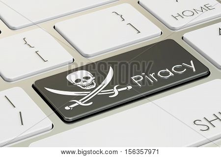 software piracy concept on the computer keyboard. 3D rendering