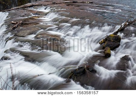 The top of Upper Messa Falls in Idaho USA.