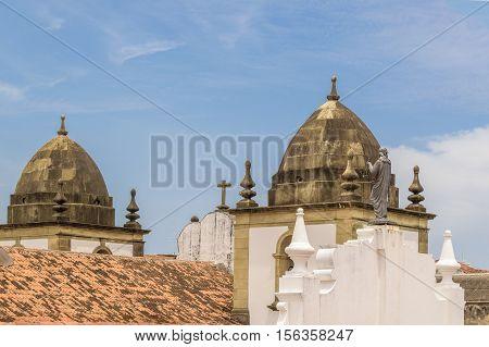 Catholic church domes against blue sky in Recife Pernambuco Brazil