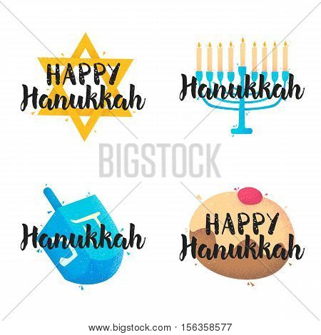 Set Hanukkah label. Vector illustration.  Icon set