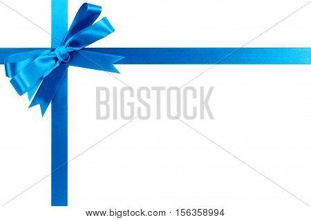 Light Blue Gift Ribbon Bow Horizontal Corner Cross Shape Isolated On White.