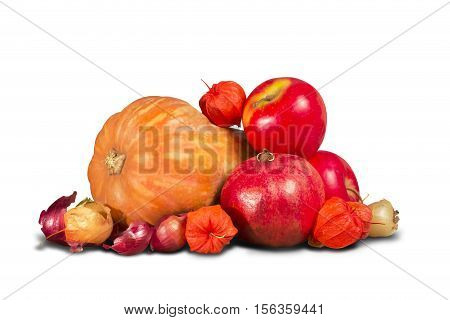 Group of various red and orange fruits and vegetables