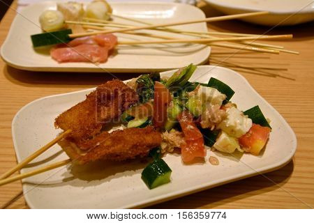 Delicious Asian Cuisine Chicken Satay On A Plate