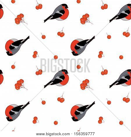 Seamless Pattern With Bullfinchs And Rowan Berries. Vector Illustration On White Background.
