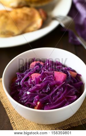 Braised red cabbage with apple in bowl with roasted chicken thigh in the back photographed with natural light (Selective Focus Focus in the middle of the dish)